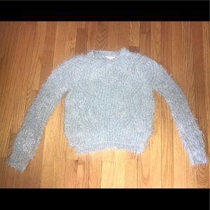 Juniors Candie's Chenille Light Blue Fuzzy Sweater